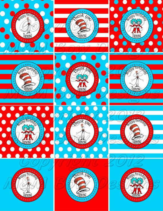 Dr Seuss Cat in the Hat Personalized Printable Birthday