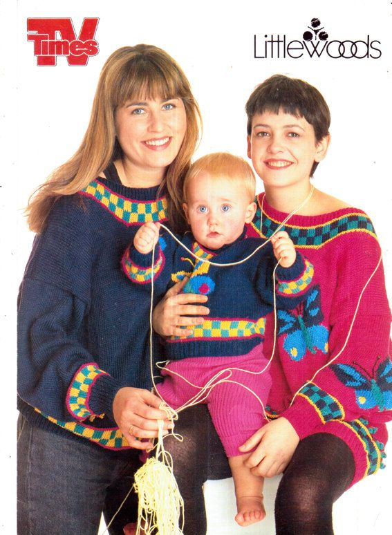 Genuine Vintage From The TV Series WATCHING  Liza Tarbuck Comedy Knitting Pattern for Ladies/Girls/Babies with Butterflies LOOKx