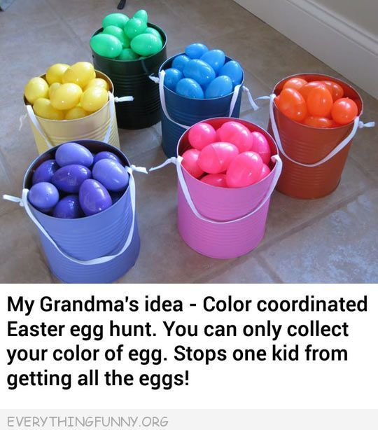 Great idea....Each child gets a color to look for so everyone has the same amount of eggs to find.