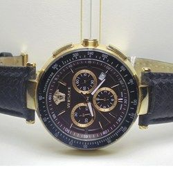 Versace Chronograph sports watch, chronograph, model Mystique, Swiss, quartz, date display, black leather strap with butterfly clasp, face black & Gold, water resistant 50m, comes with COA  http://www.lloydsonline.com.au/LotDetails.aspx?ItemID=332601  #jewellery #auction #pawn #gold #quality #luxury #diamonds #rings # #watches #art #collectibles #goldjewellery #luxury #value #auctionhouse #pawnbank #lloydsonline #online #estatejewellery #Versace