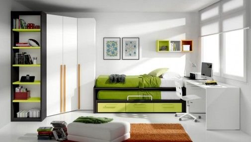 Charm White Natural Teens Room with Green Trundle Beds and White Square Computer Desk