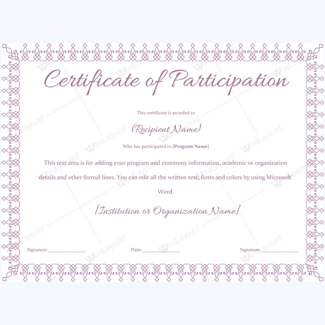 13 best Certificate of Participation Templates images on Pinterest - formal certificate template