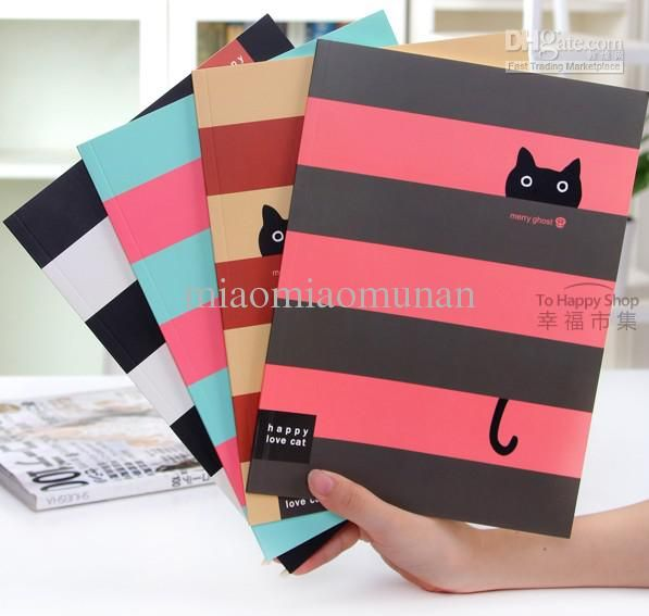 Wholesale Cute little black cat cross stripes 16 k notebook/note book, Free shipping, $3.14-3.8/Piece | DHgate