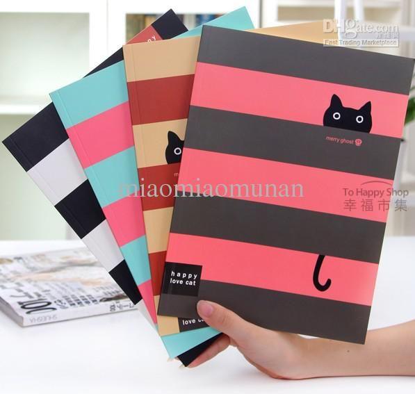 Wholesale Cute little black cat cross stripes 16 k notebook/note book, Free shipping, $3.14-3.8/Piece   DHgate