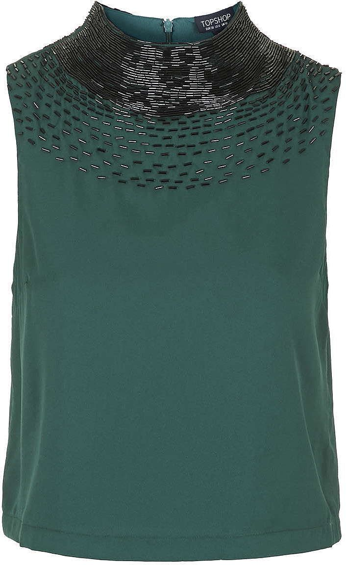 Womens bottle green embellished neck shell top - dark green, dark green from Topshop - £36 at ClothingByColour.com