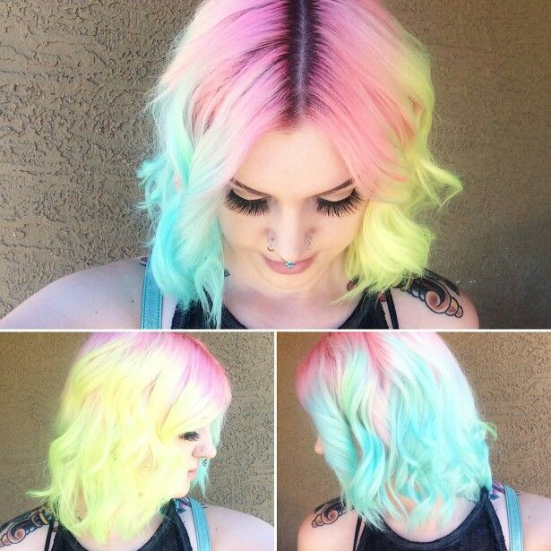 Pastel bright yellow blue dyed hair color inspiration