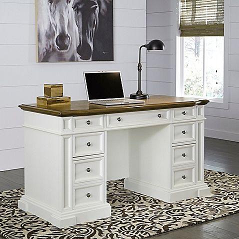 Home Styles Americana Pedestal Desk in White