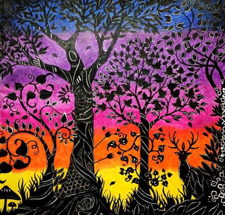 Trees Owl Enchanted Forest Arvores Coruja Floresta Encantada Johanna Basford Colouring TechniquesBlack