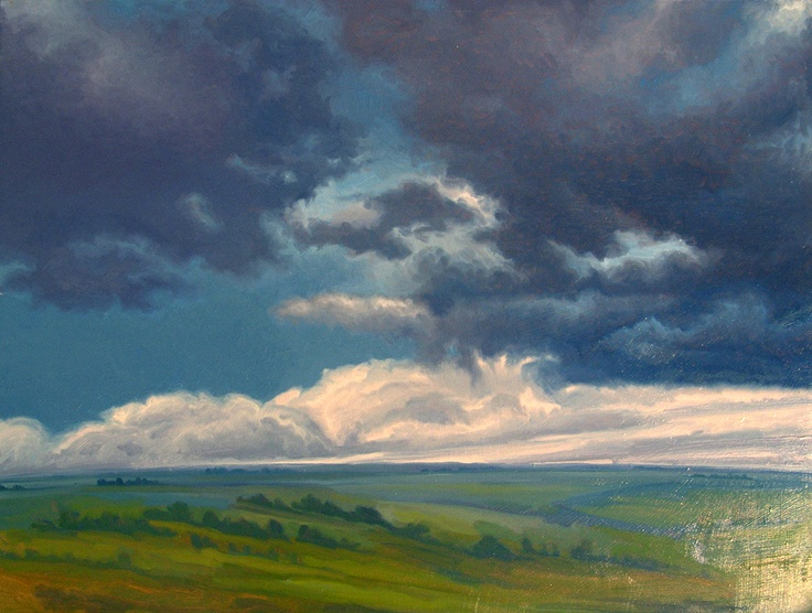 """Severbain"" by Jerry Moon Fine Art-Oil-Landscape-Painting-Kansas City, Missouri-Midwest-Sky-Clouds-Storm-Grey-Blue-Green-Dramatic-Flint Hills"
