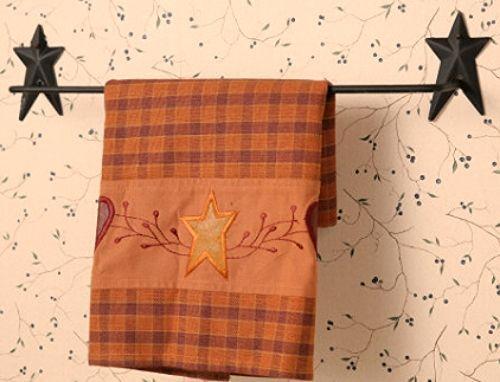 Primitive Country Bathrooms   New Primitive Country Folk Art Black Star Bath Towel Holder Wall Bar ...