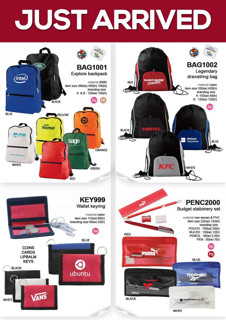 Explore backpack is the biggest backpack in our range, Legendary drawstring bag is our very first, one and only 2 toned drawstring bag with a zip detail in the front, Wallet keyring is a convenient keyring holder that also holds spare change and cards in place Budget stationery set is the only stationery set that comes readily packed, this is a great one for those last minute unbranded orders  linda@lindajacobspromotions.co.za