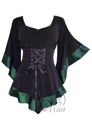 Dare To Wear Victorian Gothic Women's Treasure Corset Top in Evergreen