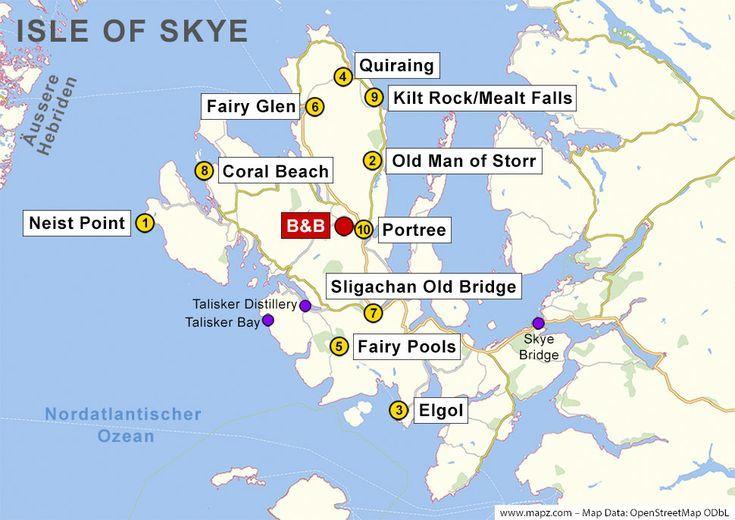 Loch Ness Karte.Karte Der Sehenswürdigkeiten Auf Der Isle Of Skye Auf Der Isle