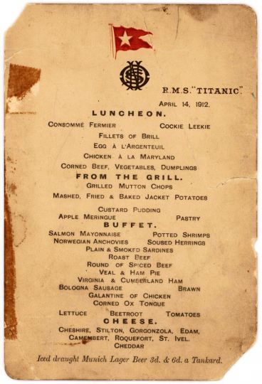 The last menu of the last lunch on the Titanic sold for 88000€...
