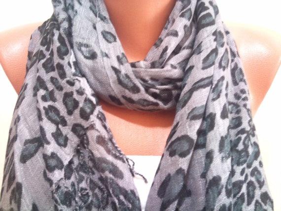 Grey Leopard Print Scarf TrendyScarf by TrendyScarf on Etsy, $9.99