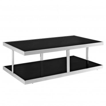 Modern Rectangular Black Glass Coffee Table Absolute