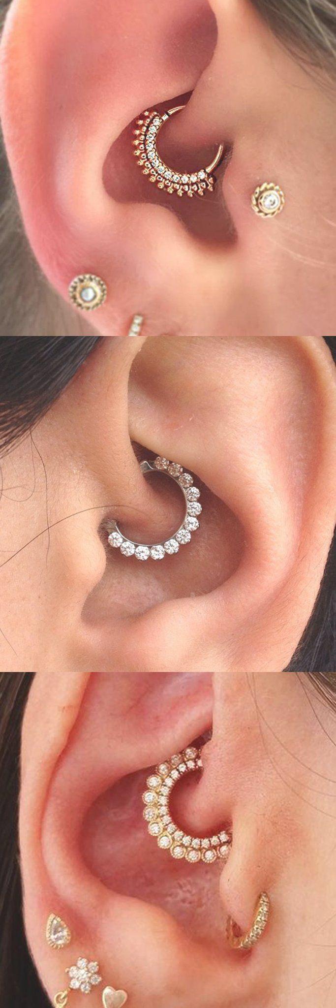 2017 Trendy Ear Piercing Ideas at MyBodiArt.com - Daith Piercing Jewelry Earring Gold Silver 16G - Tragus Stud #ad