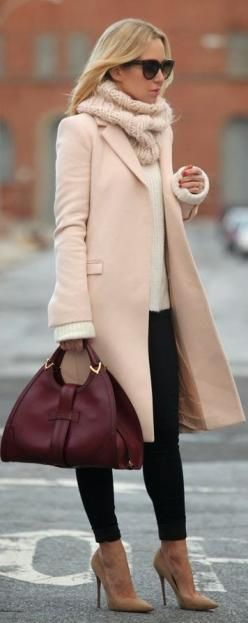 Style fashion clothing #outfit women pink coat scarf heels brown burgundy handbag #sweater white winter sunglasses: Pink Coats, Winter Style, Winter Outfit, Burgundy Handbag, Winter Fashion, Fall Winter