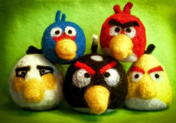 Needle felted handmade and unique Angry Birds by FeltCharacters