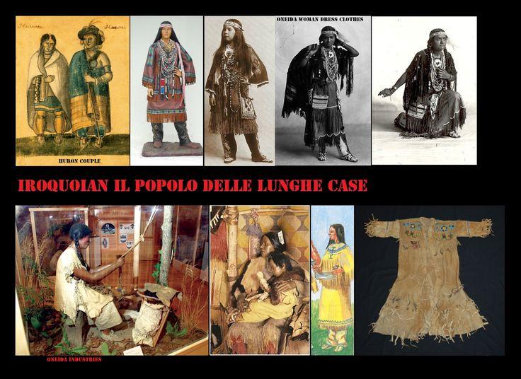 Vesti femminili Iroquoian in pelle, la donna che tesse una fascia seduta in basso a sinistra, veste alla maniera in uso al periodo precontatto, simile a vestiario degli Algonquian delle regioni a sud dei Grandi Laghi.