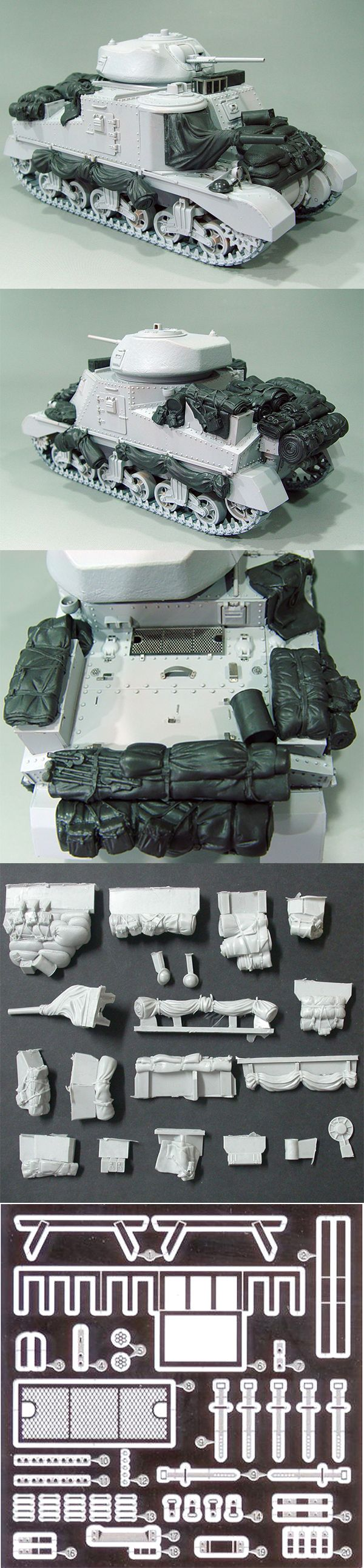 1/35 resincast model WWII M-3 Grant Detail up & Stowage set (for Academy)