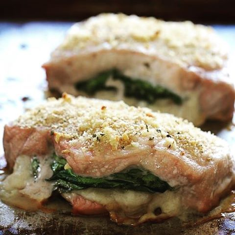 Stuffed Baked Pork Chops with Prosciutto and Mozzarella – SO good, inspired my a recent meal out stuffed with prosciutto, mozzarella and baby spinach then topped with garlic and breadcrumbs.  7 Smart Points • 235 Calories  http://www.skinnytaste.com/stuffed-baked-pork-chops-with-prosciutto-and-mozzarella/ link in profile