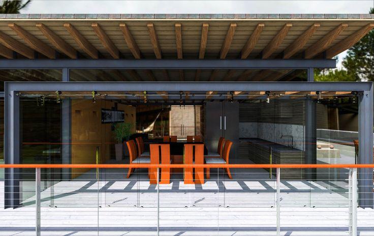El proyecto se aborda desde la concepción de -casa refugio- donde lo principal es el aislamiento de lo cotidiano, del bullicio de la ciudad;  la casa es un elemento lineal que funciona y se divide en dos partes, la privada, a través de un corredor y la pública desde el ingreso, hasta la terraza.