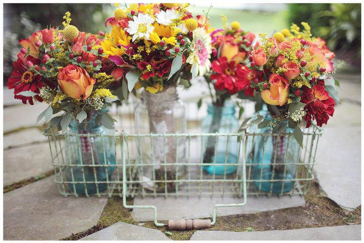 vintage wire basketBlue Mason Jars, Masons, Orange Flower, Landon Jacobs, Fall Colors, Southern Weddings, Parties Ideas, Wire Baskets, Diy Centerpieces