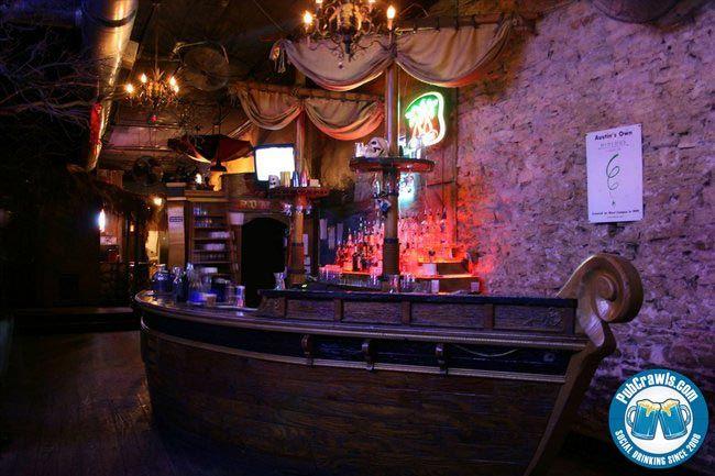 Treasure island pirate bar in austin basement shelving