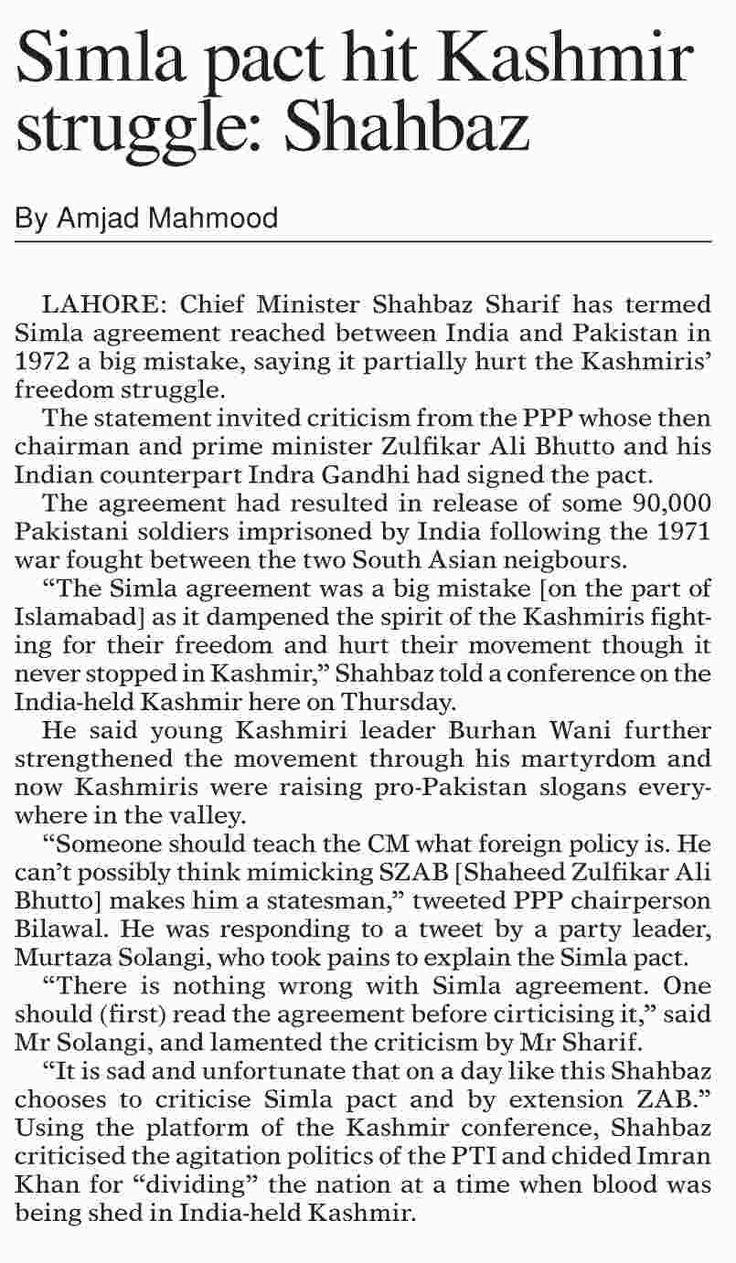 Simla pact hit Kashmir struggle: Shahbaz   ePaper   DAWN.COM