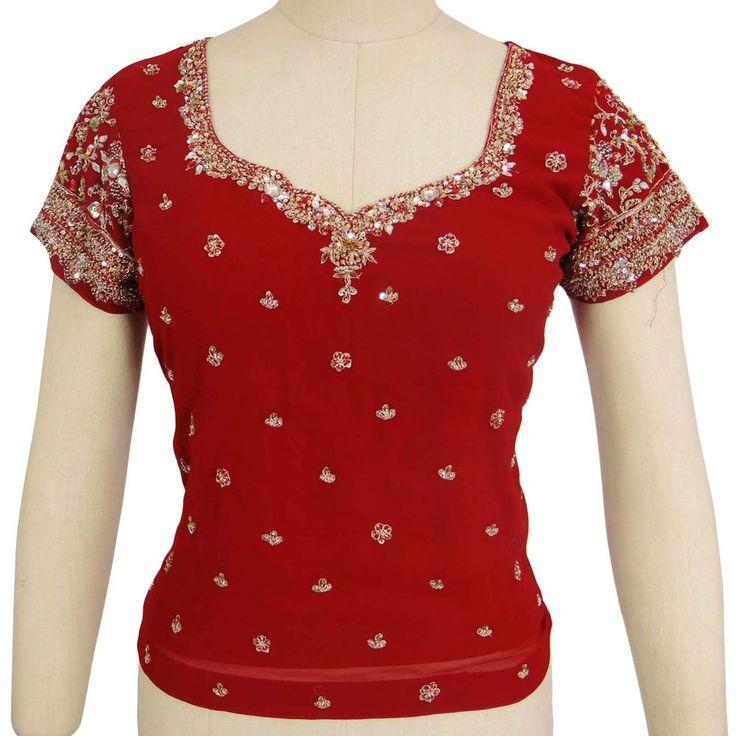Vintage Hand Beaded Bluse Tunika Maroon Antique Indian Fabric Choli Long Top