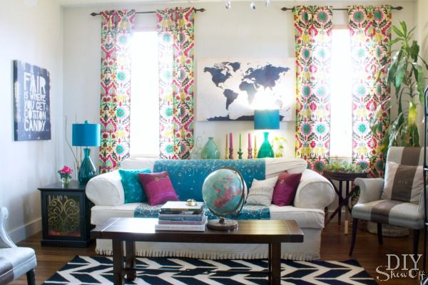 Colorful Eclectic Family Room Reveal - DIY Show Off ™ - DIY Decorating and Home Improvement Blog