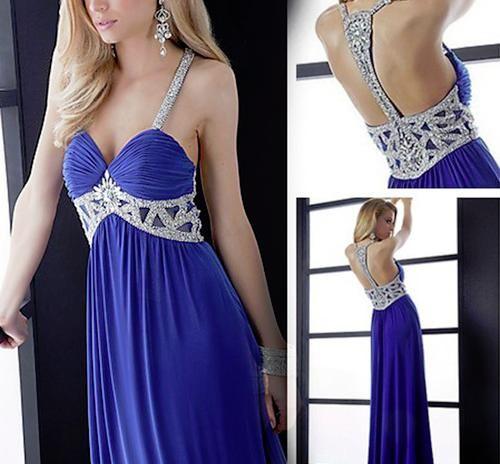 Gorgeous beaded halter evening dress