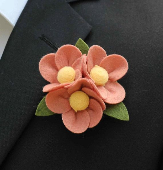 From 5.00-14.00. Custom Felt Flower Boutonniere to match your Custom Bouquet.