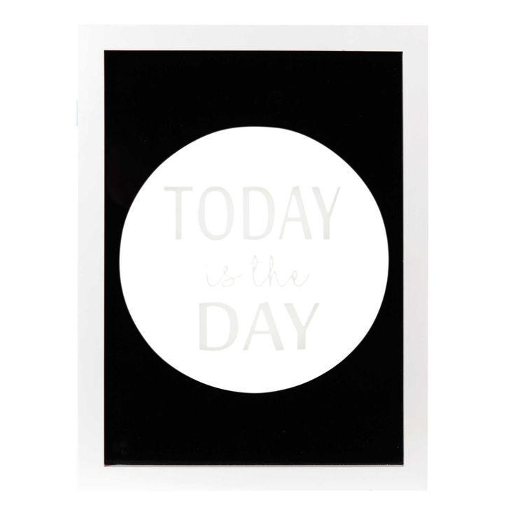 Tableau en verre blanc/noir 26 x 35 cm TODAY IS THE DAY