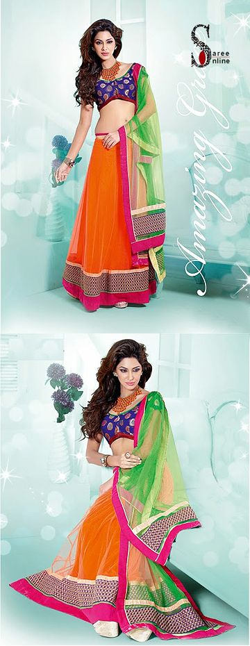$100.00 Fashionable Orange designer net lehenga with green net dupatta and patch work   http://www.sareeonline.com/proj/gallery/fullview.aspx?scode=rhl318