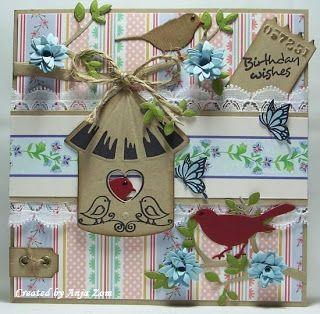 Anja Zom kaartenblog: Weer een paar kaartjes vogelhuisjes van marianne design.