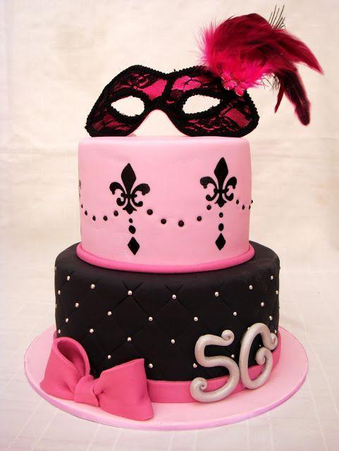 Pink / Black Masquerade Cake