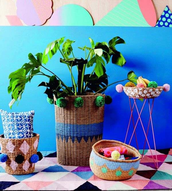 Pompom baskets, just one of the amazing projects in Make & Do by Beci Orpin, published by Hardie Grant Books, RRP $39.95. Full step-by-step tutorial on we-are-scout.com.