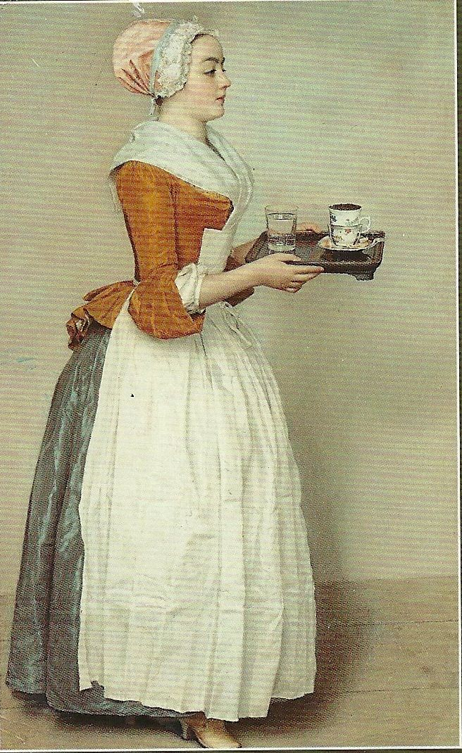 The Chocolate Maid by Jean-Etienne Liotard (1743-4). Very often it is claimed that the person painted was the young Anna Baltauf. She caught the eye of Prince von Dietrichstein, who fell in love and married her.