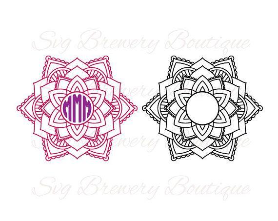 Download Mandala, flower, circle monogram frame, SVG (layered), PNG ...
