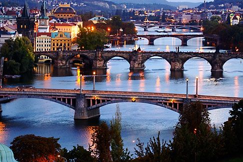 Czech Republic, Prague, Bridges over River Vlatava
