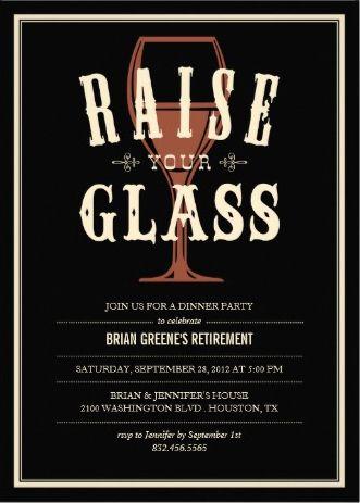 Vintage Wine Glass #retirement_party_invitations