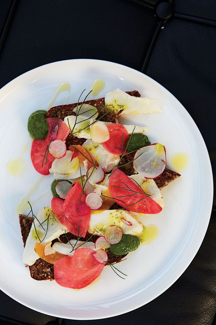 Our Best Australian and New Zealand Recipes: Open Faced Rye, Poached Red Snapper, Pickled Radish, and Salsa Verde Sandwich, Tasmania