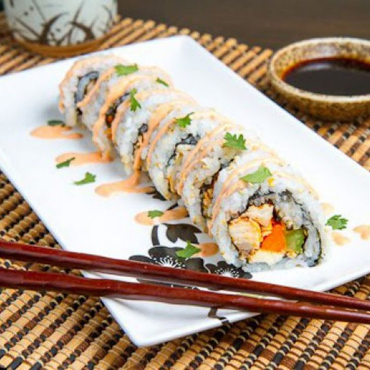Buffalo Chicken Sushi Recipe - seriously?! I wonder if it's any good? Might have to try!!!
