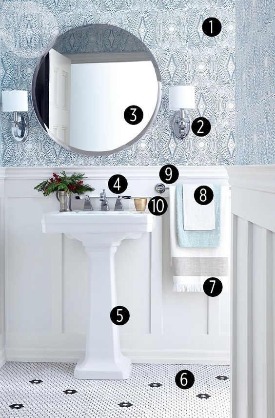 "1 Laundry Studio Diamante wallpaper in Turquoise, Hygge & West, $140 US per double roll. 2 UberHaus metal Naples sconces with fabric shade and faux crystals (removed), RONA, $32 each. 3 Aluminum-bordered Ronglan mirror, 32"", IKEA, $119.5 Fitzgerald 3-hole fireclay pedestal sink in Canvas White, 24"","