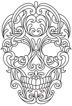 Scrollwork Skull | Urban Threads: Unique and Awesome Embroidery Designs