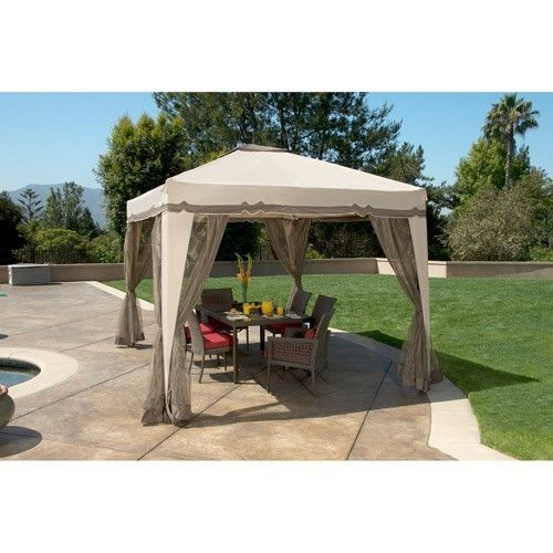 Portable 12 39 x 10 39 gazebo canopy tent screen house garden - Small gazebo with netting ...