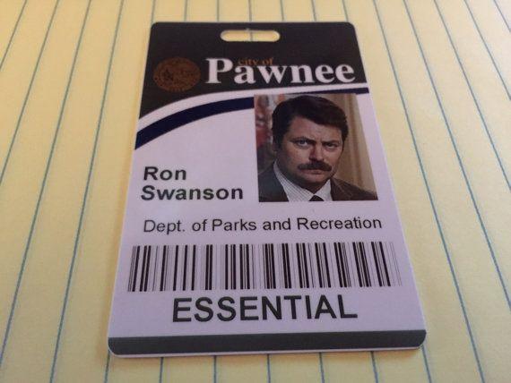Ron Swanson  City of Pawnee PVC ID Badge  by UncleJacksDesign