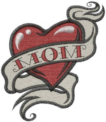 Mom Heart Tattoo embroidery design